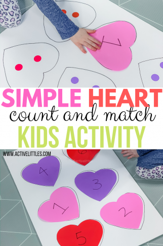 Easy Heart Count and Match Activity for Kids