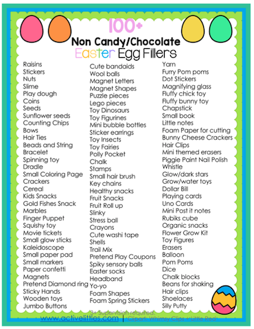 100+ Non Candy Easter Egg Fillers - Active Littles