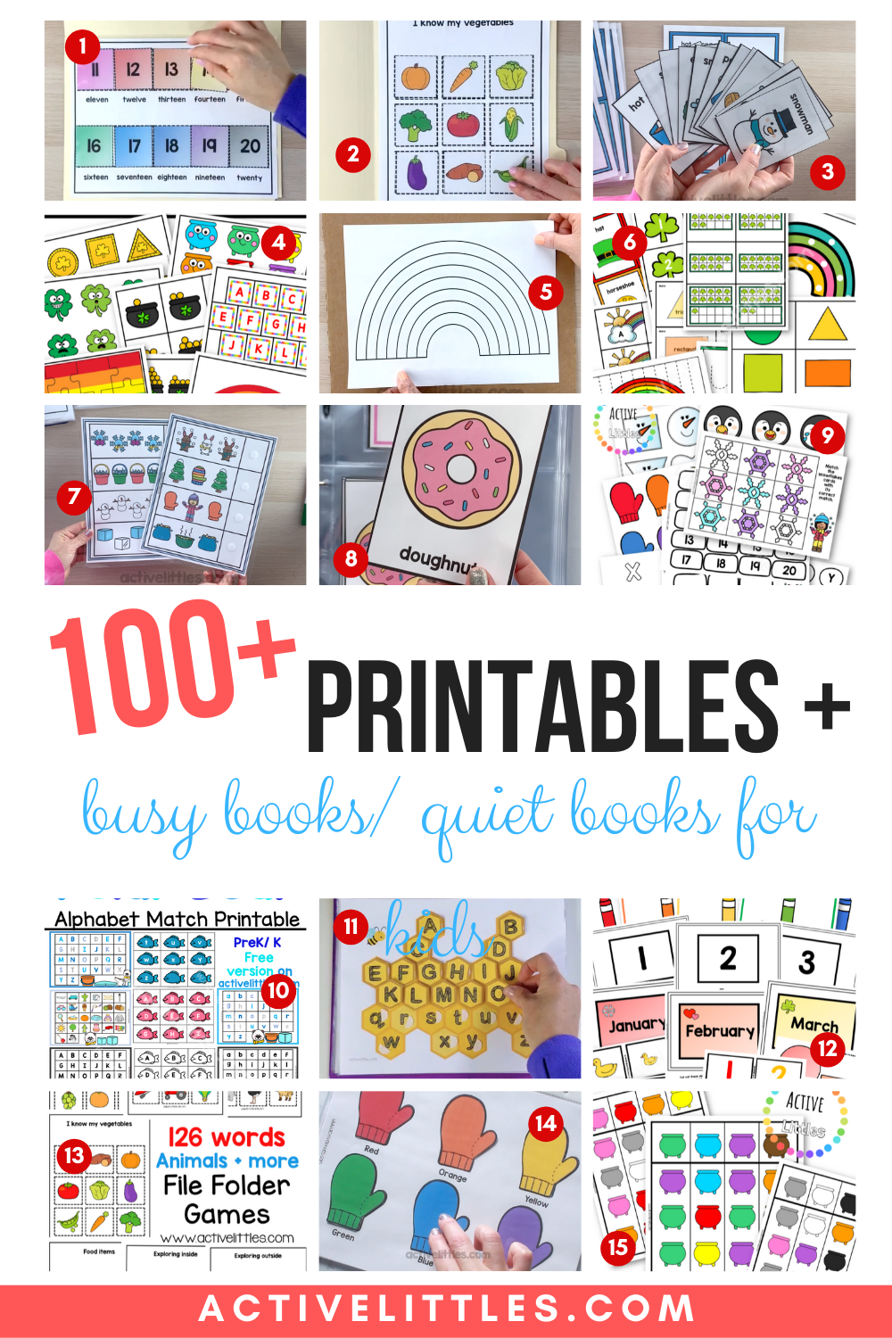 Over 100 printables, busy books and quiet books for kids