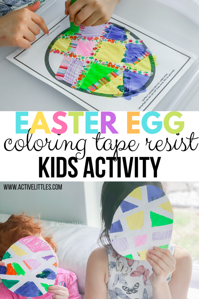Easter egg Coloring Tape Resist Activity for Kids
