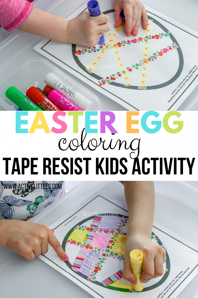 easter egg coloring tape resist activity