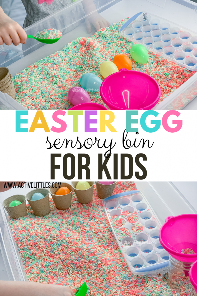 easter egg sensory bin for kids
