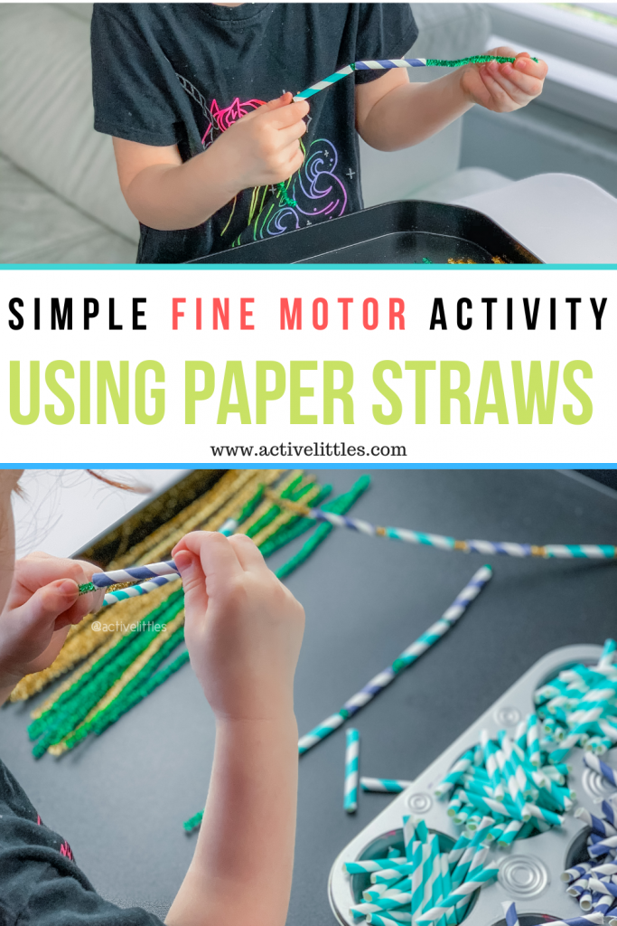 fine motor activity using paper straws and pipe cleaners