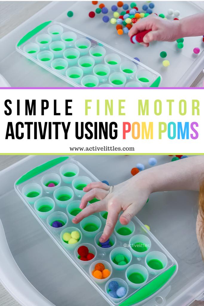 fine motor pom pom activity for kids