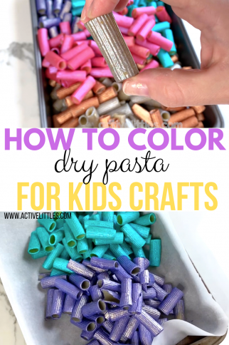 How to Dye Pasta Noodles with Paint for Sensory Play