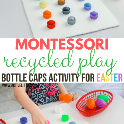 montessori recycled play bottle caps activity for kids