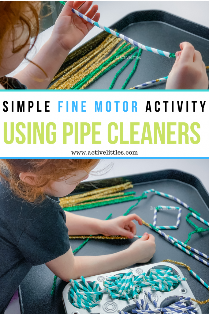 pipe cleaner and paper straw activity for kids