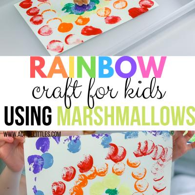rainbow kids craft using marshmallows