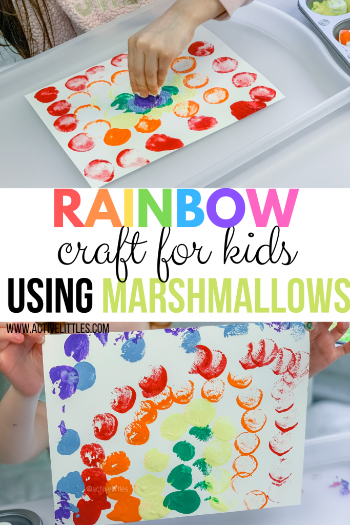 rainbow kids craft using marshmallows