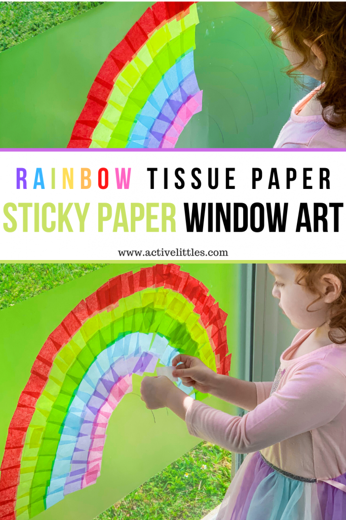 rainbow tissue contact paper window art