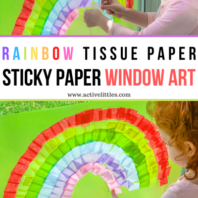 rainbow tissue paper sticky paper window art