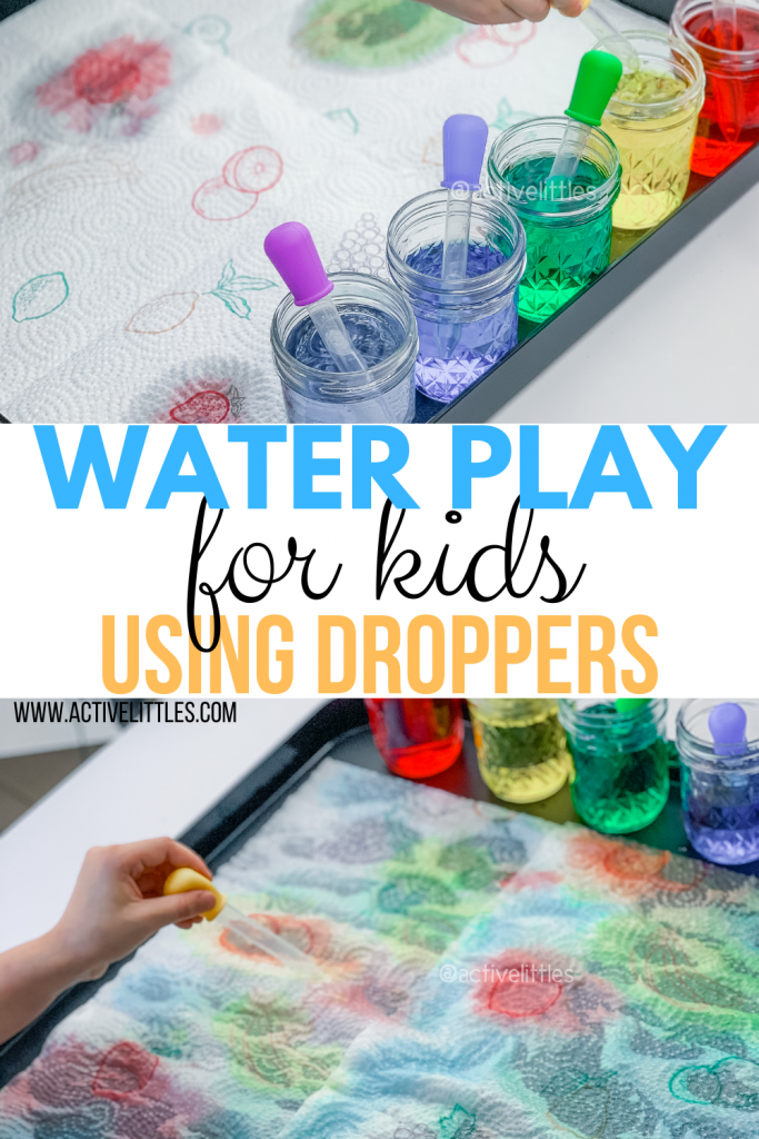 water play using droppers for kids