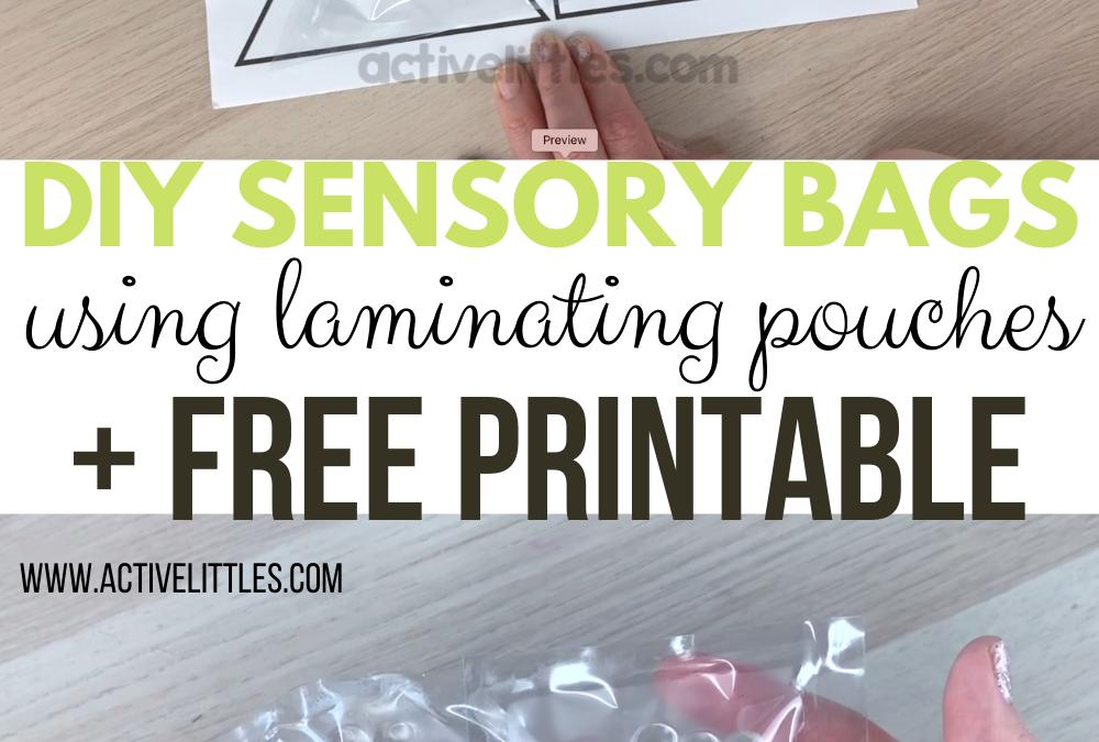 DIY Sensory Bags using laminating pouches and FREE Shape Printable