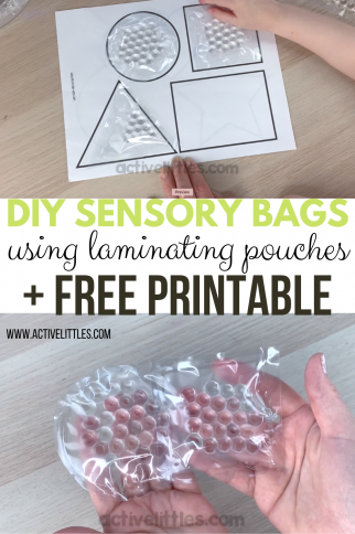 DIY Sensory Bags using laminating pouches and FREE Shape Printable
