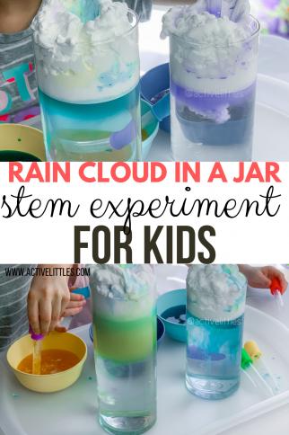 Rain Cloud in a Jar STEM experiment for Kids