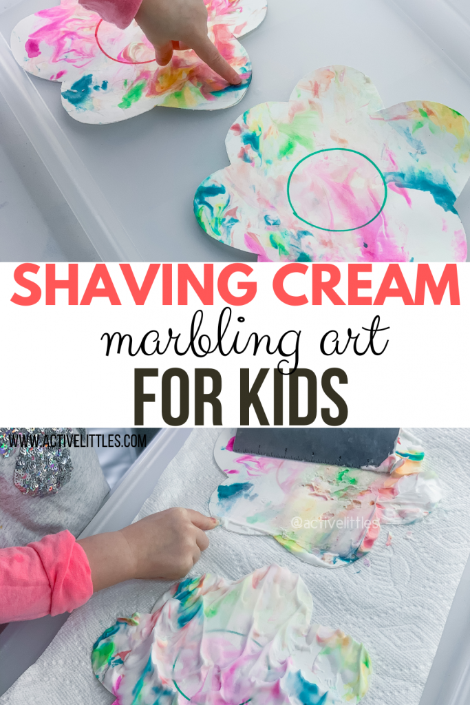 shaving cream marble art for spring