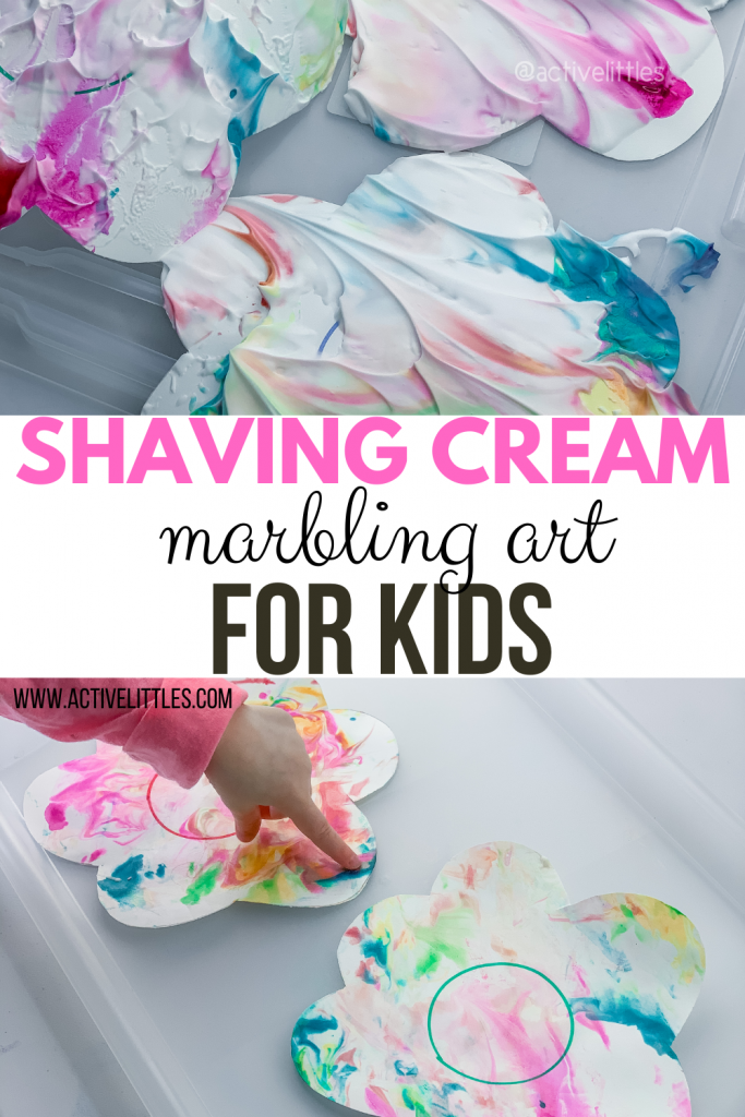 shaving cream marbling art for kids