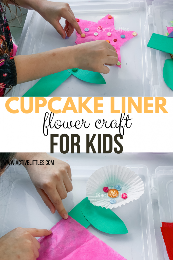 cupcake liner flower craft for kids at home