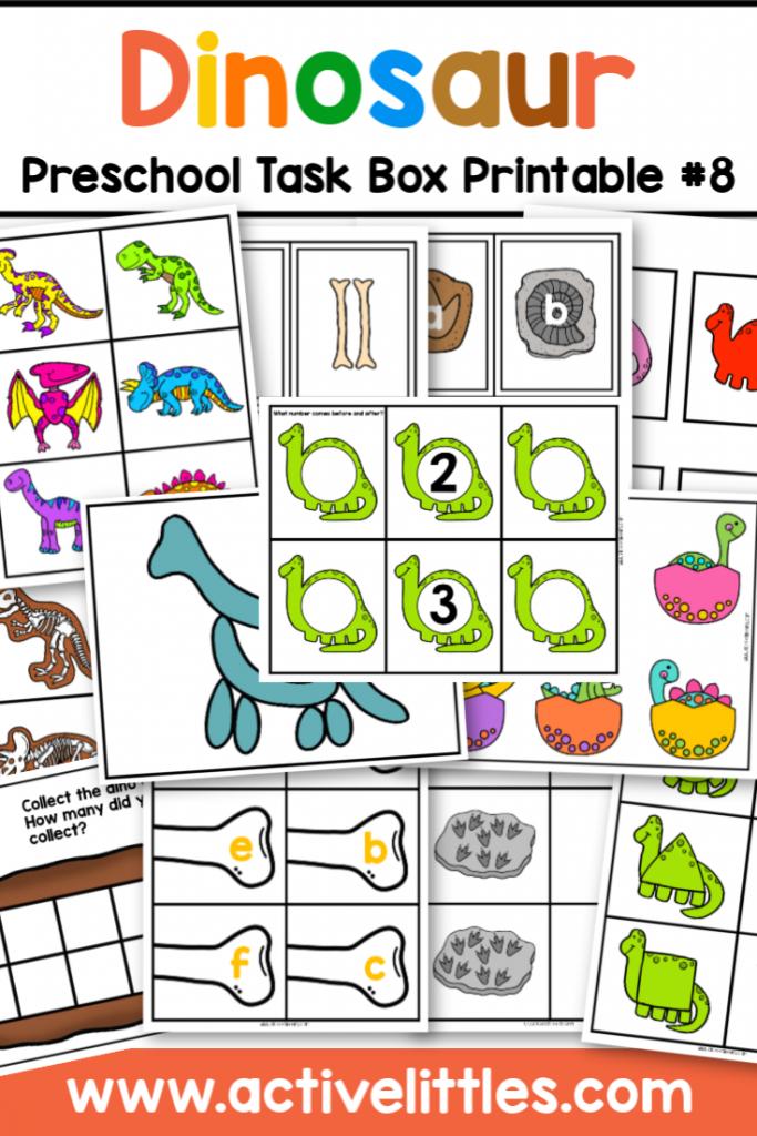 dinosaur preschool task box printable - Active Littles