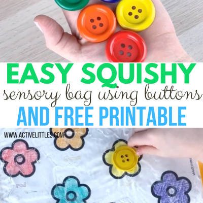 easy squishy sensory bag using buttons and free printable