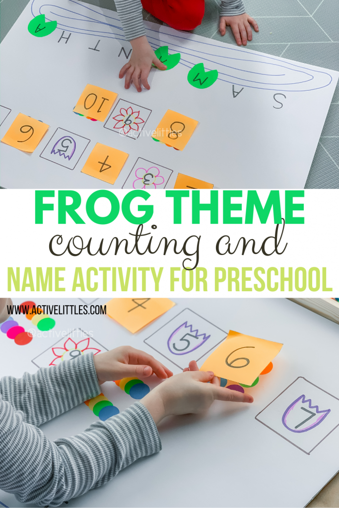 frog theme counting and name activity