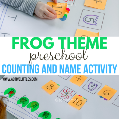 frog theme preschool counting and name activity