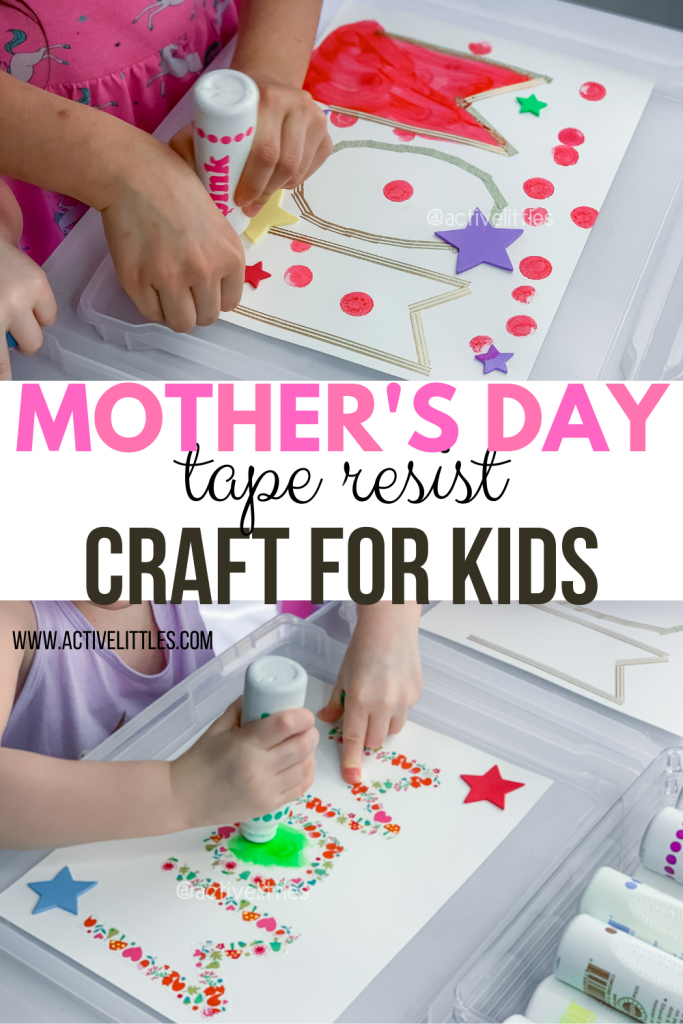 mothers day tape resist craft for kids