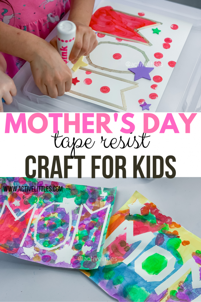 mothers day tape resist crafts for kids