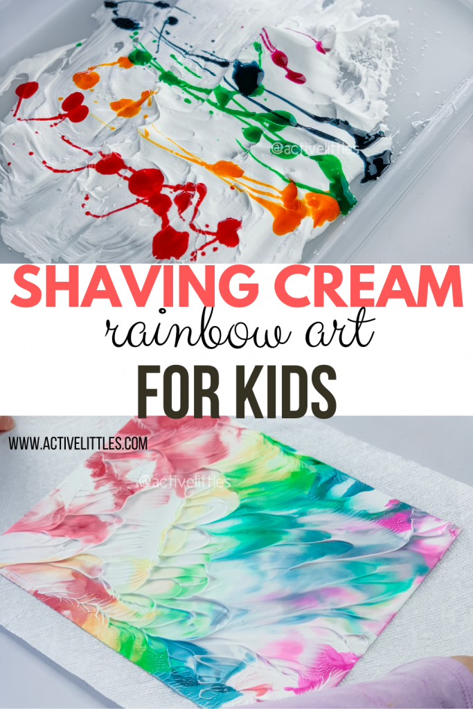 shaving cream rainbow art for kids
