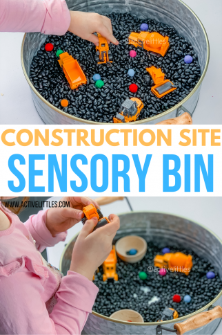 Construction Site Sensory Bin for Toddlers and Preschoolers
