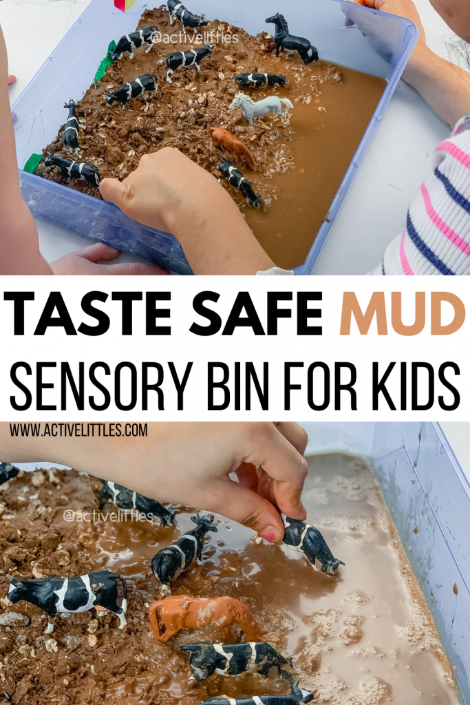 diy mud sensory bin for kids