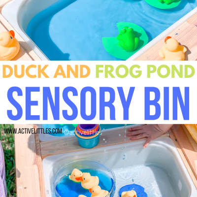duck and frog pond sensory bin