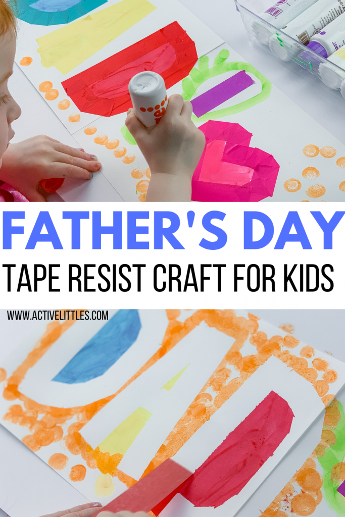 fathers day tape resist craft for kids