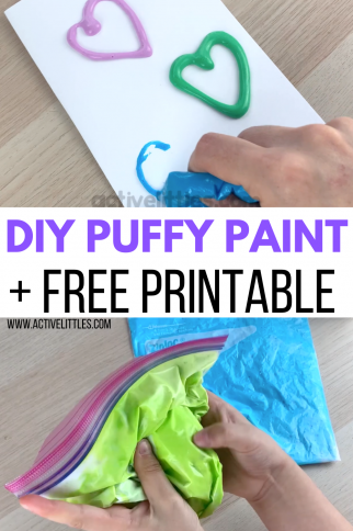 How to make Homemade Puffy Paint + Free Printable for Kids