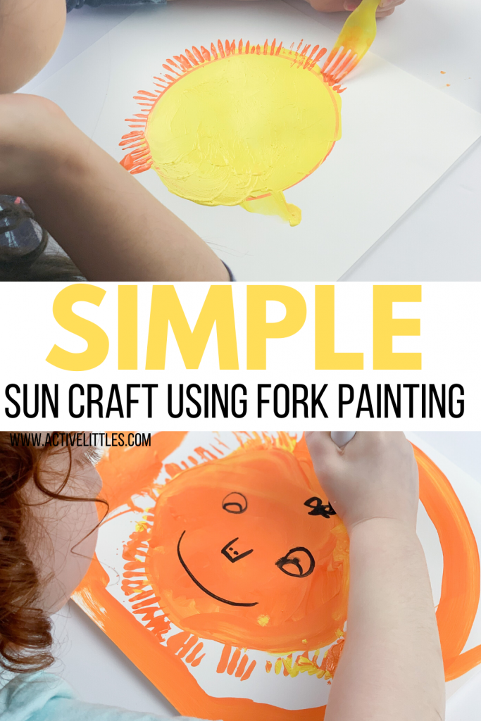 simple sun craft fork painting