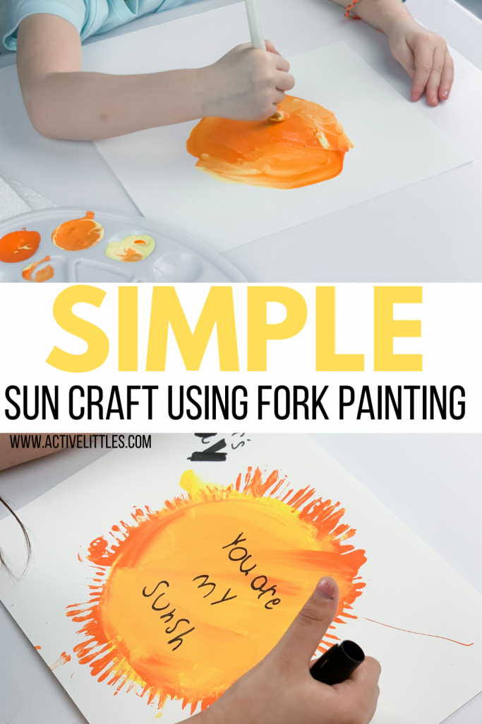 simple sun craft using fork painting