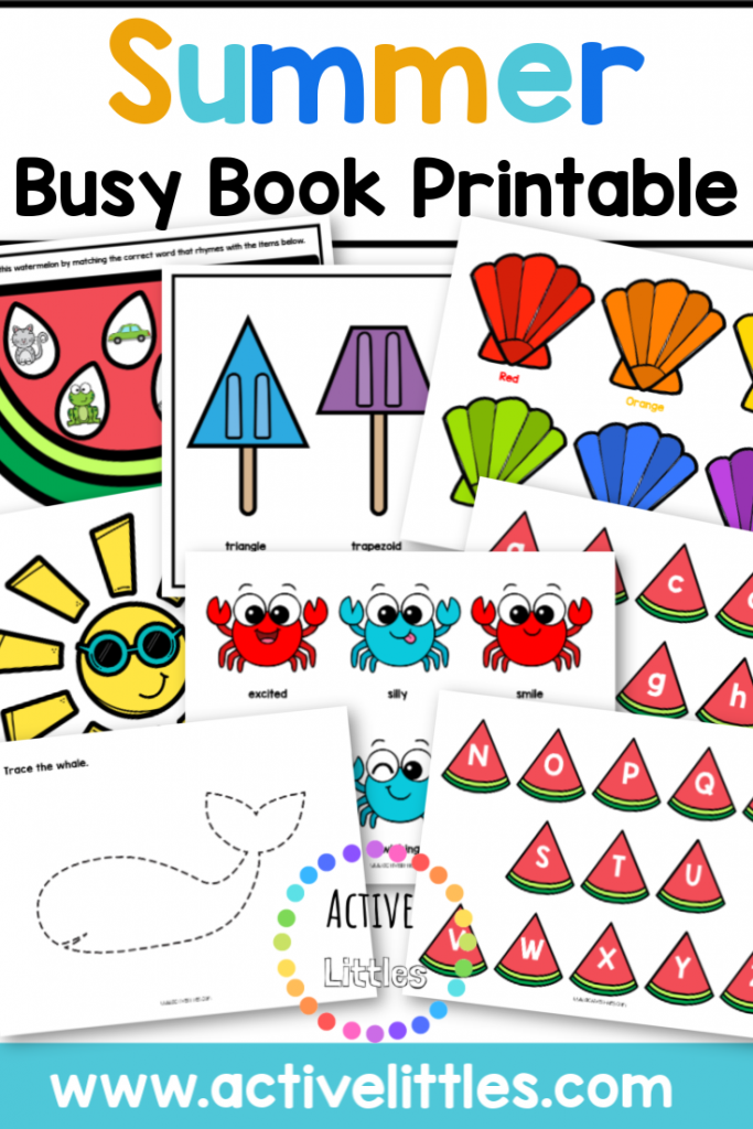 summer busy book quiet book printable for kids
