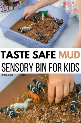 Simple Taste Safe Mud Sensory Bin for Kids