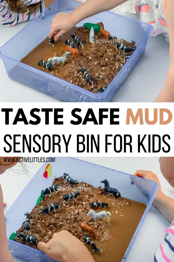 taste safe mud sensory bin for kids