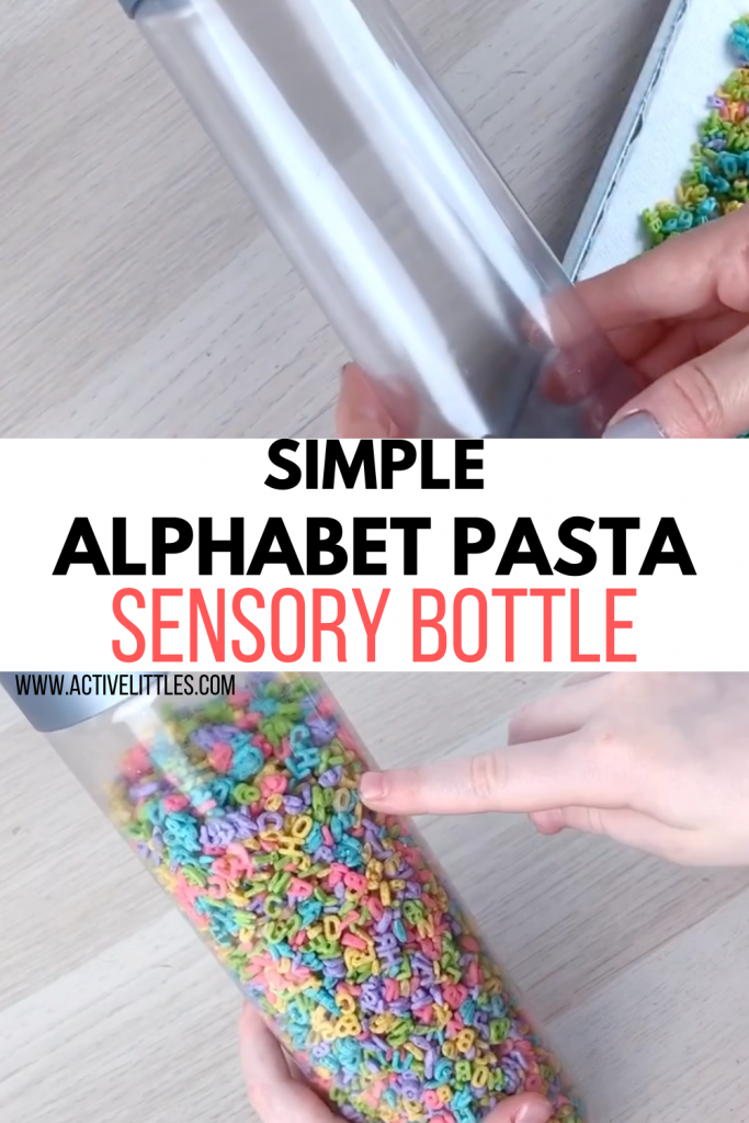 alphabet pasta sensory bottle for kids