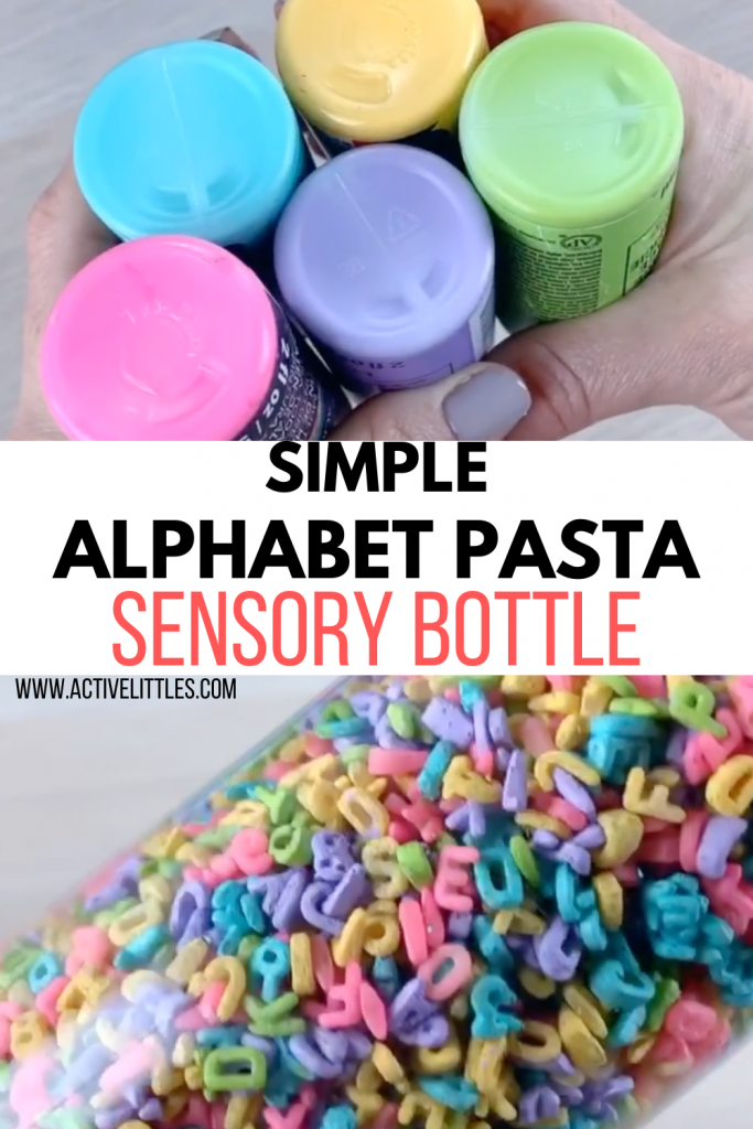 alphabet pasta sensory play for kids