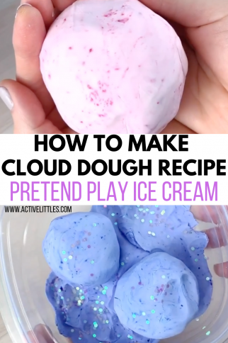 How to make 2 Ingredient Cloud Dough Recipe Pretend Ice Cream Shop +Video Tutorial