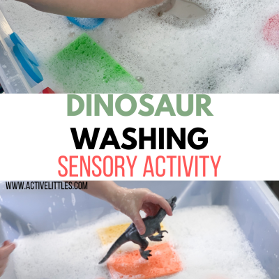 dinosaur washing sensory bin
