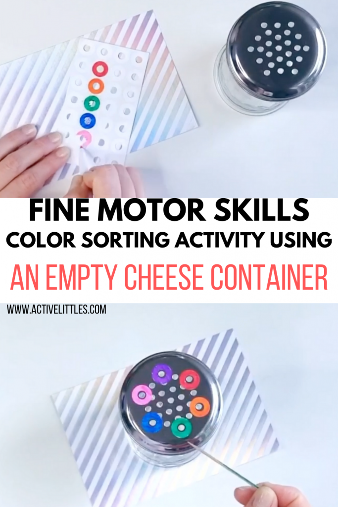 fine motor skills color sorting activities with an empty cheese container
