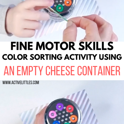fine motor skills color sorting activity using an empty container