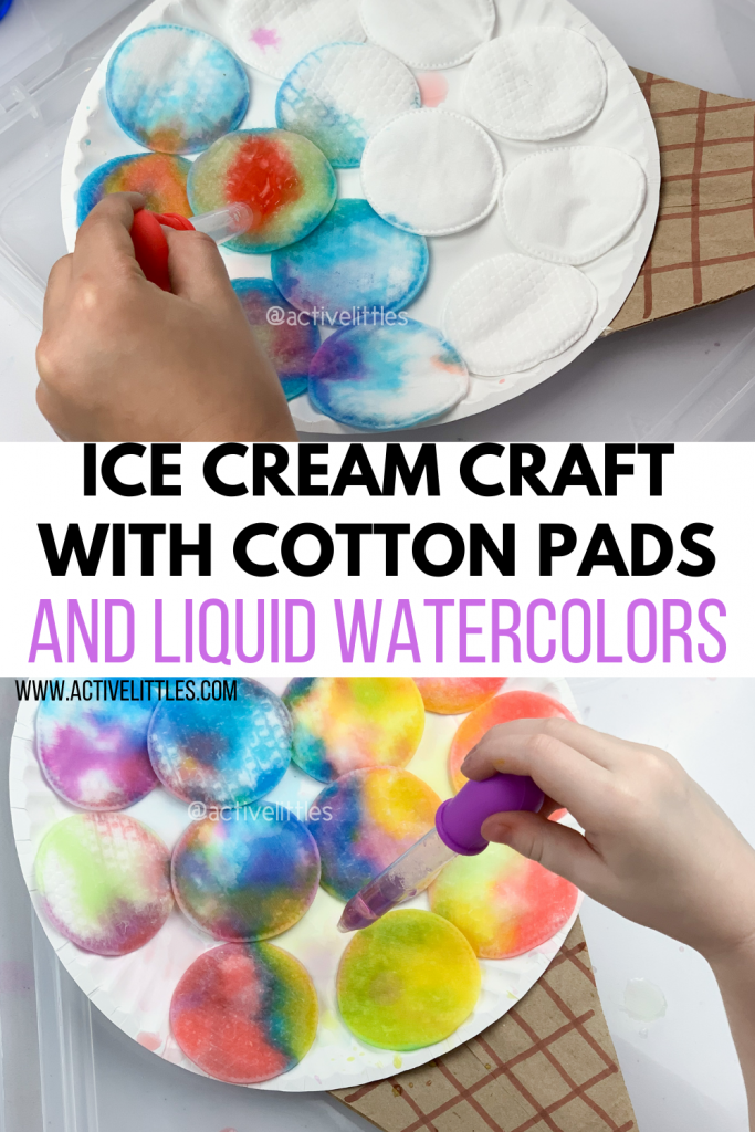 ice cream craft with cotton pads and liquid watercolors