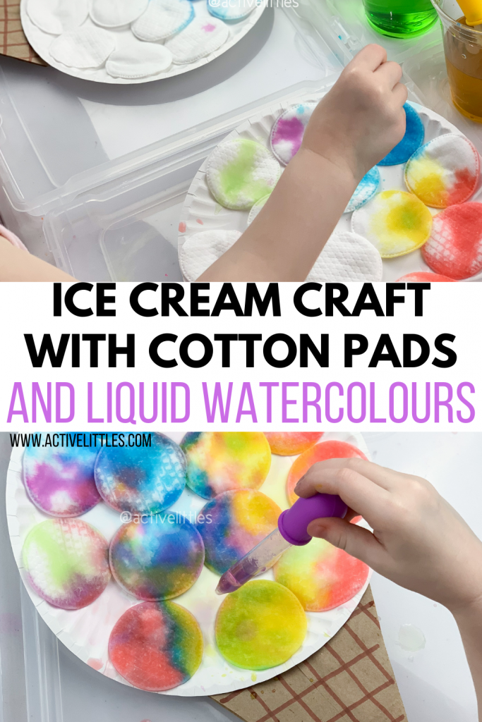 ice cream craft with cotton pads and liquid watercolours