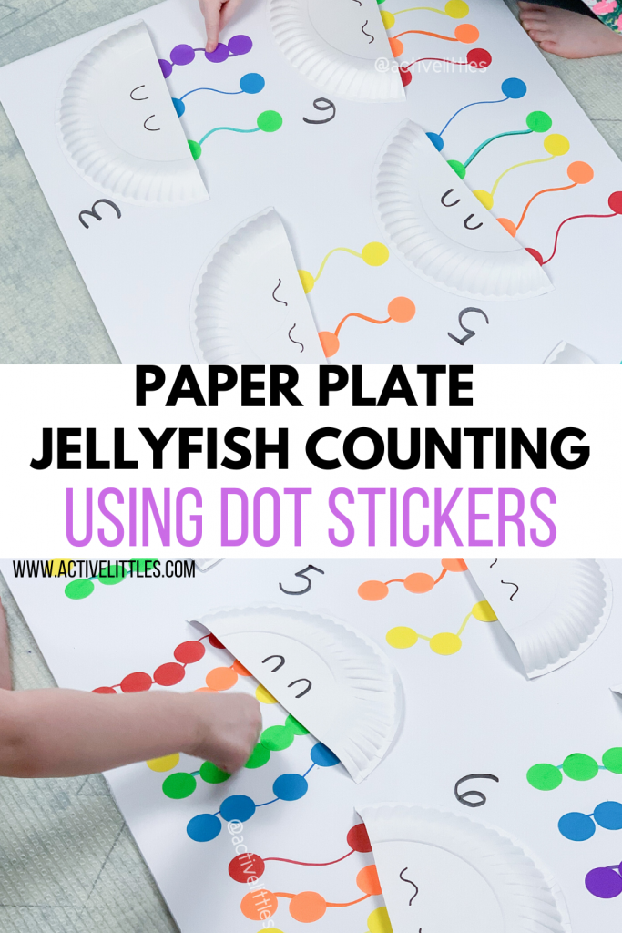 paper plate jellyfish counting with dot stickers