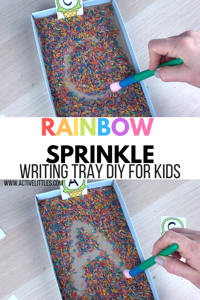 rainbow sprinkle writing tray