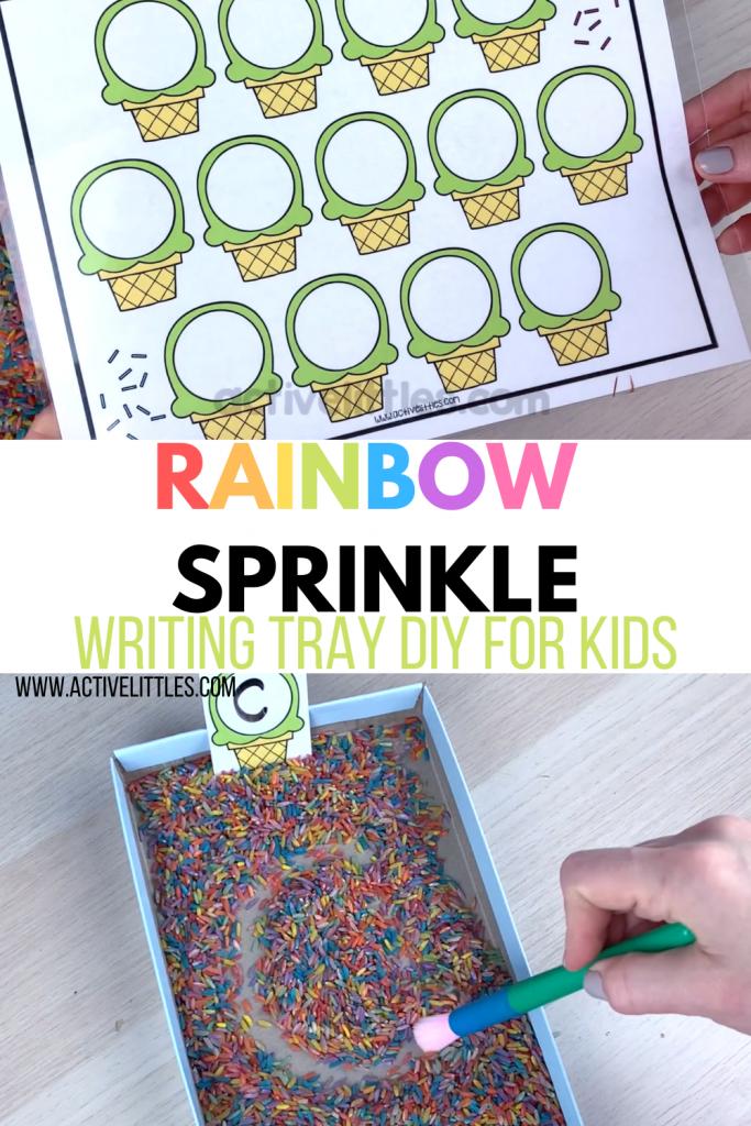 rainbow sprinkle writing tray diy